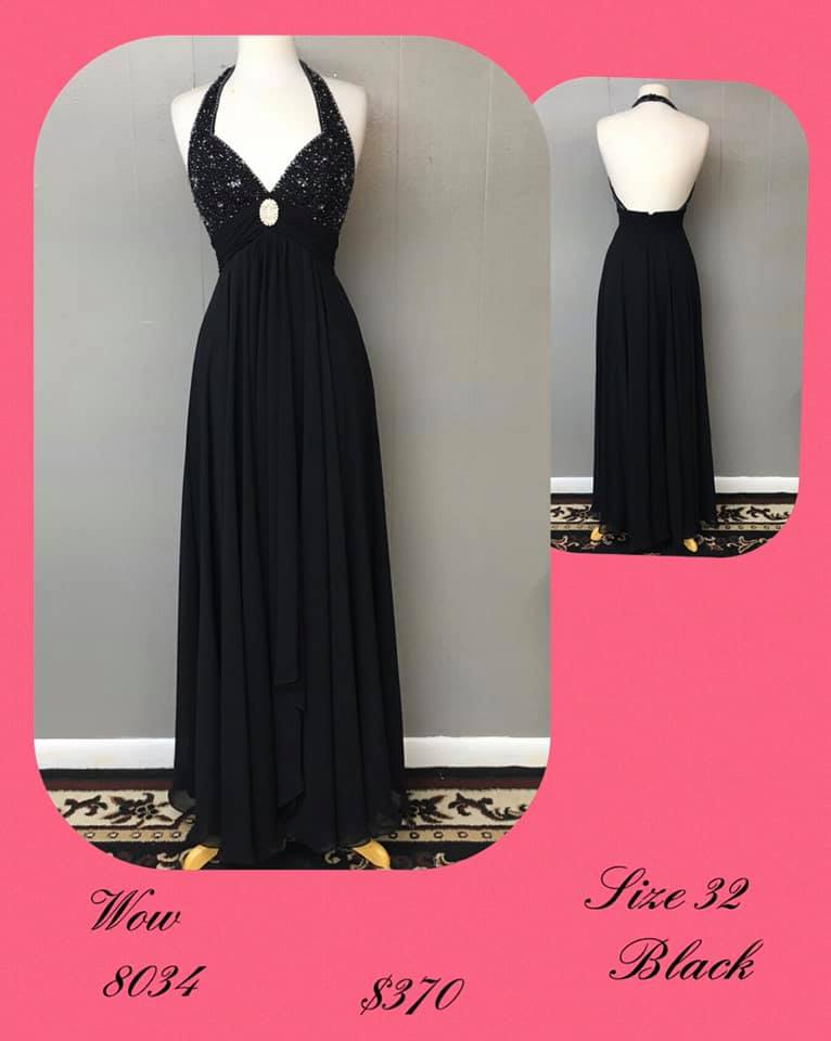Queenly size 32 Wow Black A-line evening gown/formal dress