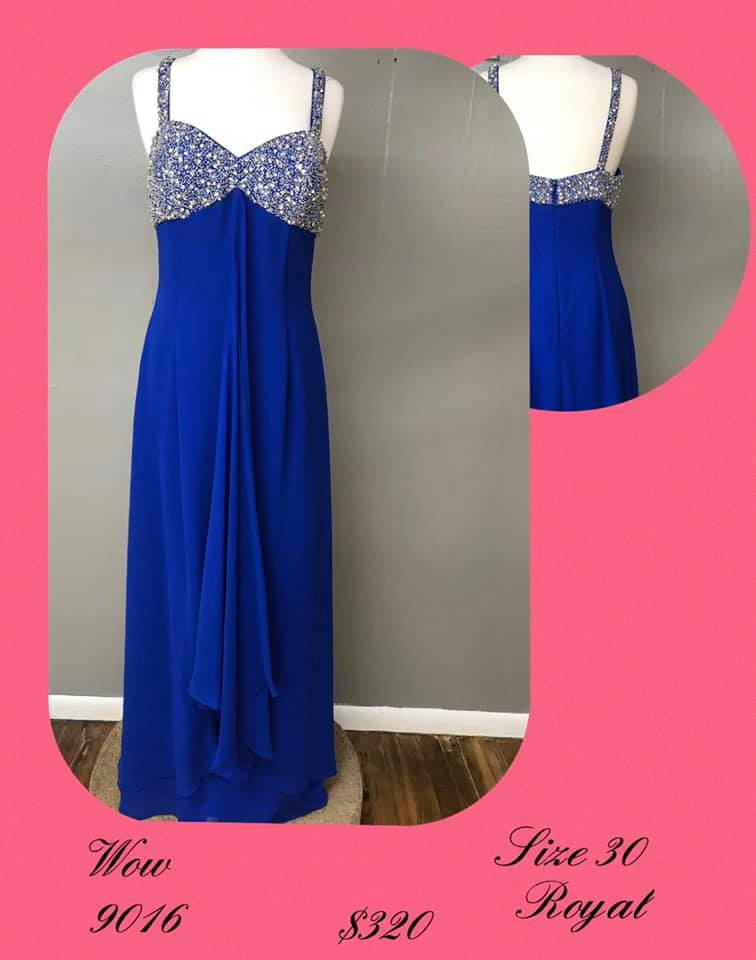 Queenly size 30 Wow Blue A-line evening gown/formal dress