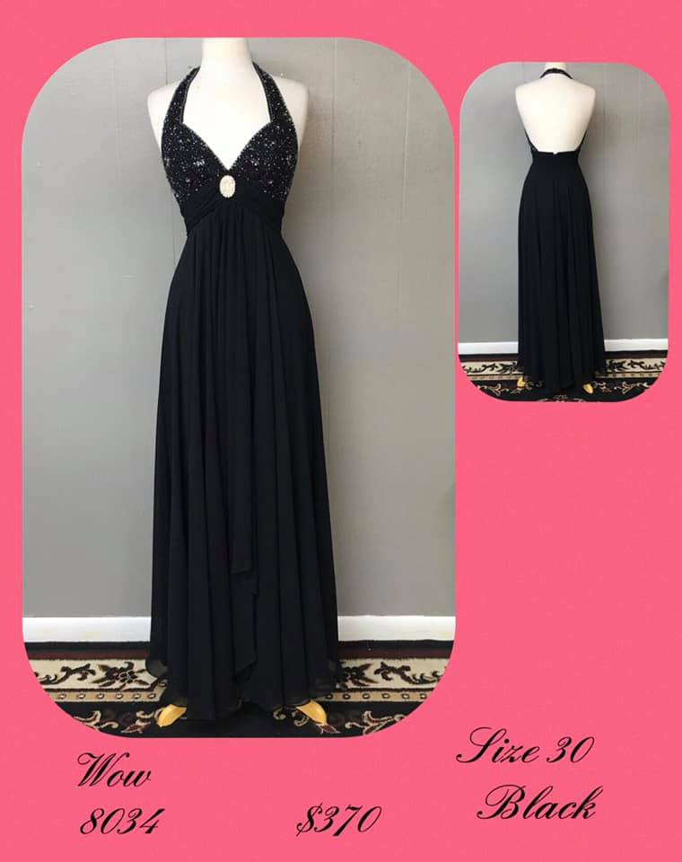 Queenly size 30 Wow Black A-line evening gown/formal dress