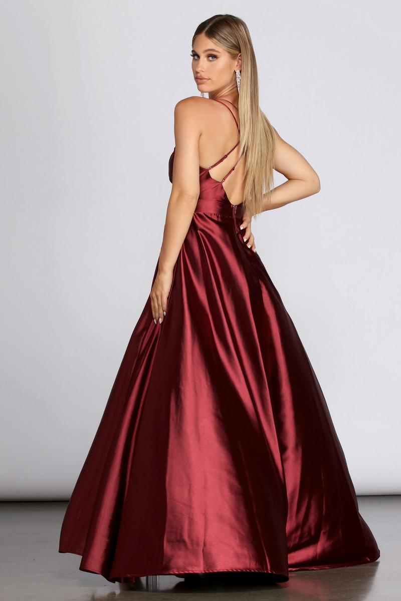 Windsor Red Size 2 Plunge Side Slit Ball gown on Queenly