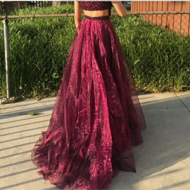 Sherri Hill Purple Size 2 Maroon Plunge Ball gown on Queenly