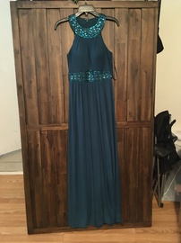 Queenly size 4 One By Eight Green A-line evening gown/formal dress