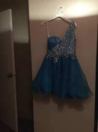 Sherri Hill Blue Size 14 Homecoming Plus Size Cocktail Dress on Queenly