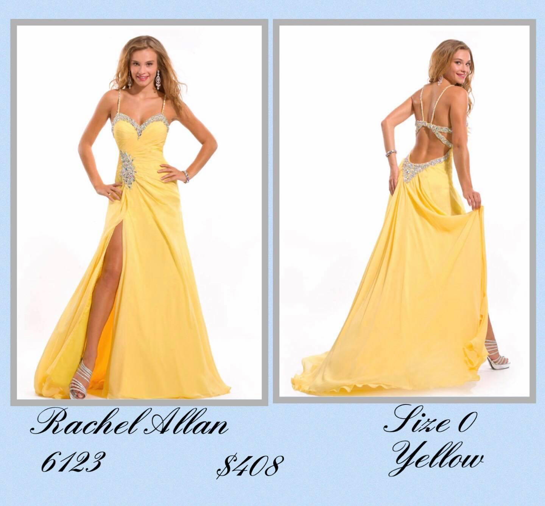Queenly size 0 Rachel Allan Yellow Side slit evening gown/formal dress