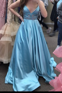 Sherri Hill Blue Size 2 Plunge Shiny Ball gown on Queenly