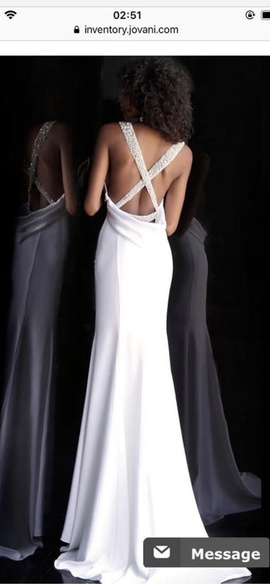 Jovani White Size 00 Plunge Pageant Backless Mermaid Dress on Queenly