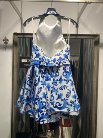 Terani Couture Blue Size 10 Two Piece Print Cocktail Dress on Queenly