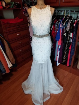 Queenly size 10  White Mermaid evening gown/formal dress