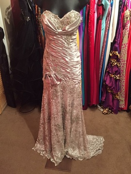 Terani Couture Silver Size 4 Sweetheart Train Lace Straight Dress on Queenly