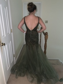 Jovani Green Size 10 Plunge Shiny Mermaid Dress on Queenly