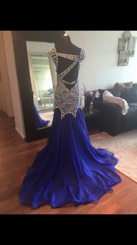 Ritzee Blue Size 6 Jewelled Train Sequin Straight Dress on Queenly