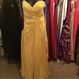 Queenly size 4 The Collection Inspired By Dancing With The Stars by La Femme Yellow A-line evening gown/formal dress