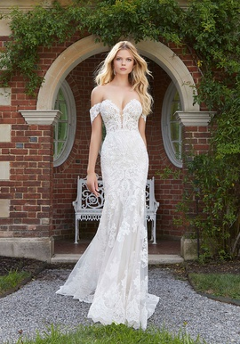 Mori Lee White Size 4 Train Sheer Lace Mermaid Dress on Queenly