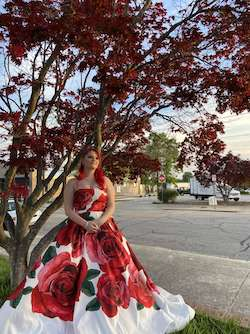 Sherri Hill White Size 14 Prom Floral Ball gown on Queenly