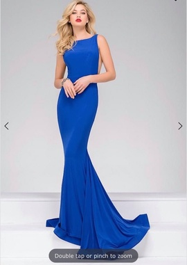 Jovani Blue Size 8 Backless Train Straight Dress on Queenly