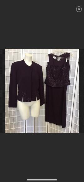 Mon Cheri Purple Size 8 Jewelled Sequin Straight Dress on Queenly