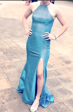 Style 52481 Sherri Hill Blue Size 2 Halter Tall Height Side slit Dress on Queenly