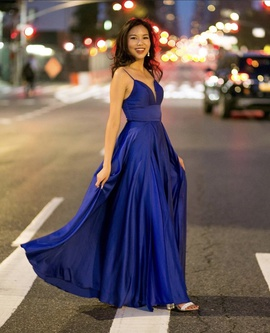 Queenly size 4  Blue Side slit evening gown/formal dress