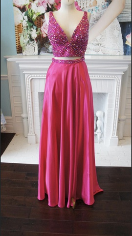 Queenly size 0 Sherri Hill Pink Side slit evening gown/formal dress