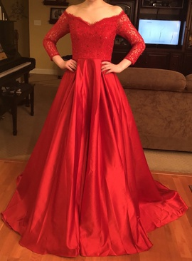 Custom Red Size 0 Train Lace Ball gown on Queenly
