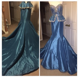 Mac Duggal Blue Size 4 Sweetheart Strapless Mermaid Dress on Queenly