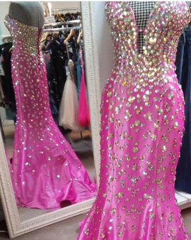Jovani Hot Pink Size 4 Strapless Mermaid Dress on Queenly