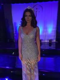 Jovani Silver Size 6 Pageant Plunge Straight Dress on Queenly