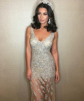 Queenly size 6 Jovani Silver Straight evening gown/formal dress