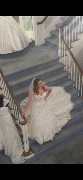 Mori Lee White Size 10 Train Lace A-line Dress on Queenly