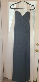 Sherri Hill Blue Size 6 Strapless Shiny Navy Side slit Dress on Queenly
