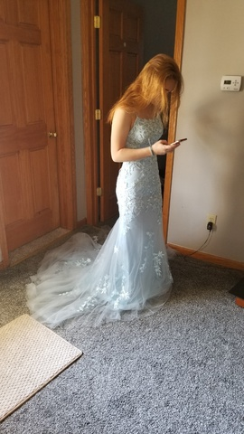 Sherri Hill Blue Size 0 Backless Train Dress on Queenly
