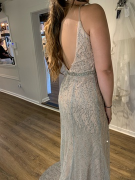 Jovani Nude Size 10 Train Straight Dress on Queenly