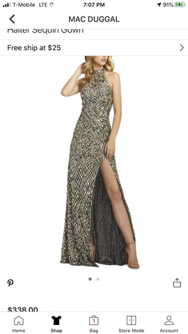 Mac Duggal Silver Size 4 Halter Tall Height Cocktail Dress on Queenly