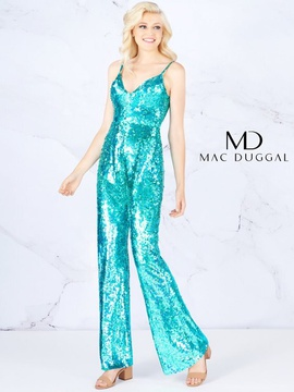 Queenly size 6 Mac Duggal Blue Romper/Jumpsuit evening gown/formal dress