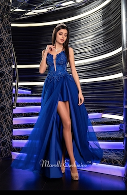 Queenly size 12 Marelli Exclusive  Blue Cocktail evening gown/formal dress