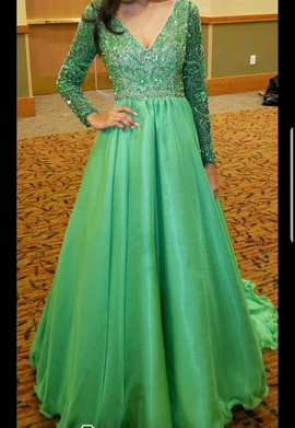 Queenly size 2  Green A-line evening gown/formal dress