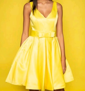 Queenly size 2 Custom made Yellow Cocktail evening gown/formal dress