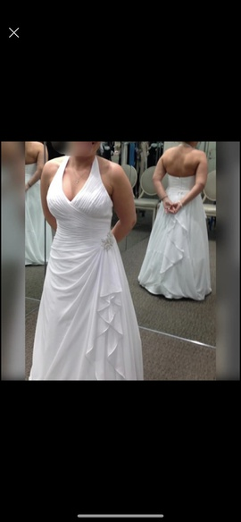 David's Bridal White Size 22 Halter Plunge Plus Size A-line Dress on Queenly