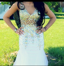 Queenly size 2  White Mermaid evening gown/formal dress