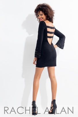 Style 1144 Rachel Allan Black Size 2 Interview Backless Graduation Cocktail Dress on Queenly