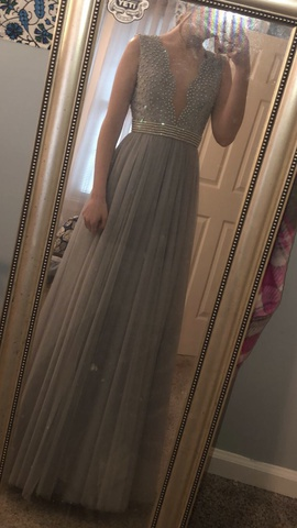 Sherri Hill Silver Size 2 Lavender Periwinkle Light Blue A-line Dress on Queenly