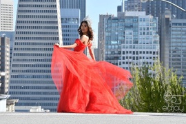 Queenly size 2 Custom made by Uchka Red Train evening gown/formal dress