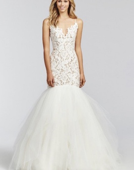 Blush White Size 12 Plunge Tulle Lace Mermaid Dress on Queenly