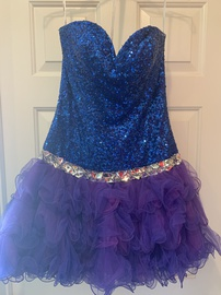 Queenly size 6 Sherri Hill Blue Cocktail evening gown/formal dress
