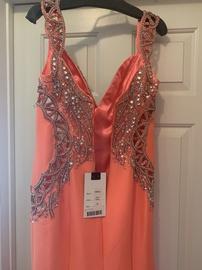 Mac Duggal Orange Size 10 Sequin Plunge Mermaid Dress on Queenly