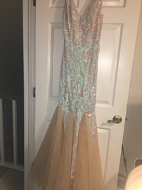 Windsor Multicolor Size 8 Sheer Tall Height V Neck Mermaid Dress on Queenly