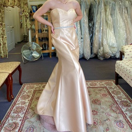 Alfred Sung Gold Size 10 Belt Sweetheart Strapless Mermaid Dress on Queenly