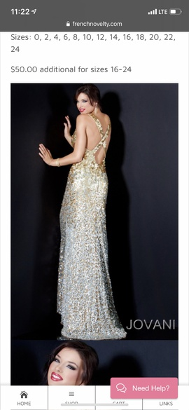 Jovani Gold Size 6 Silver Plunge Shiny Mermaid Dress on Queenly