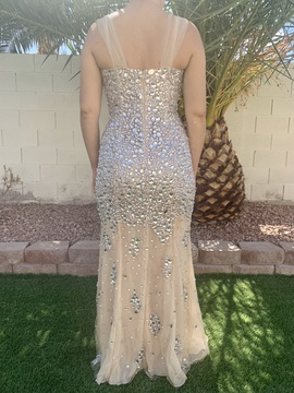Jovani Gold Size 10 Jewelled Side slit Dress on Queenly