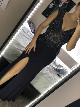 Sherri Hill Silver Size 4 Plunge Shiny Side slit Dress on Queenly